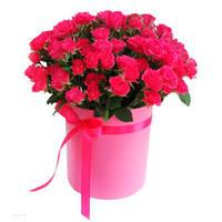 """Розы в шляпной коробке """"Розовый восторг"""""""