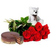 Акция! Подарочный набор - торт+розы+игрушка!