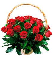 Корзина 25 алых роз
