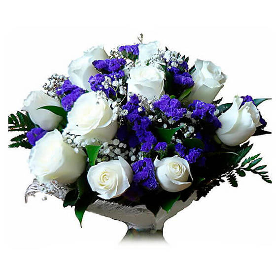Букет из белых роз с гипсофилом, доставка цветов в г ачинск