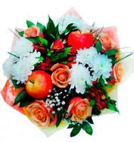 """Букет из хризантем и роз """"Наслаждение"""""""